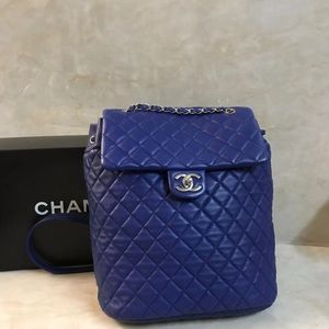 Chanel lambskin blue large size backpack